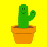 Cute cactus. In a pot stock illustration