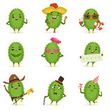 Cute cactus cartoon characters set, cacti activities with different emotions and poses, colorful detailed vector Royalty Free Stock Image