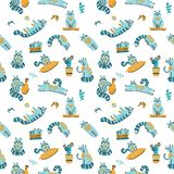 Cute cactus and cat cartoon seamless pattern on white background. Colorful modern illustration in simple hand drawn style. Funny stock illustration