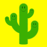 Cute cactus family. (green on yellow vector illustration