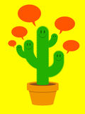 Cute cactus family with speech bubbles Stock Photography