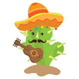Cute cactus plays guitar vector illustration Royalty Free Stock Images