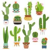 Cute cactus pots. Happy face cartoon succulent cacti funny flower smile plant lovely friends, desert garden cactuses royalty free illustration
