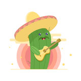 Cute cactus in sombrero, singing serenade and playing guitar. Sun on background. vector illustration