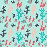 Cute cactus and succulent pattern. Hand drawn vector seamless background Royalty Free Stock Photo