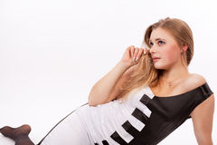 Cute caicasian blond female isolated Stock Image