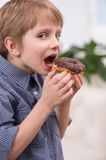 Cute caicasian boy open mouth. Royalty Free Stock Images