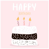 Cute cake with happy birthday wish. Greeting card template. Creative happy birthday background. Vector Illustration. Royalty Free Stock Photo