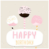 Cute cake pops with happy birthday wish. Greeting card template. Creative happy birthday background. Vector Illustration. Stock Images