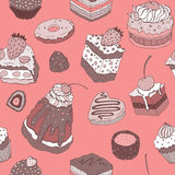 Cute cake. Seamless background. Stock Images