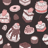 Cute cake. Seamless background. Royalty Free Stock Images