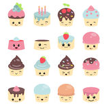 Cute cakes character with eyes Stock Photos