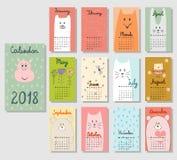 Cute Calendar 2018. Stock Images