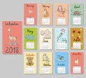 Cute Calendar 2018. vector illustration