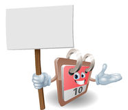 Cute calendar character holding a sign Stock Images
