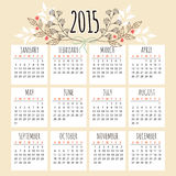 Cute calendar 2015 with floral elements,  Royalty Free Stock Image