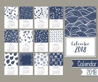 Cute calendar for 2018. With hand-drawn patterns royalty free illustration