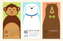Cute 2018 calendar pages with funny cartoon animals characters. For your decoration Royalty Free Stock Photo