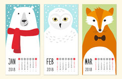 Cute 2018 calendar pages with funny cartoon animals characters. For your decoration Stock Photos