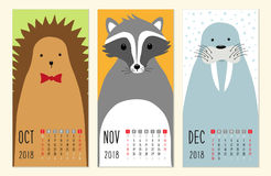 Cute 2018 calendar pages with funny cartoon animals characters. For your decoration Stock Image