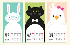 Cute 2018 calendar pages with funny cartoon animals characters Royalty Free Stock Photo