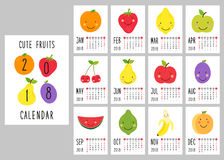 Cute 2018 calendar pages with smiling fruit characters and retro hand written thin font. For your decoration stock illustration