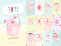 Cute calendar 2019 with pig. Character. Symbol of the year in the Chinese calendar. Calendar editable template. Vector illustration EPS10 royalty free illustration