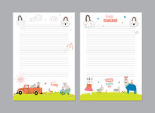 Cute Calendar Daily Planner. Template for 2016. Beautiful Diary with Vector Funny Animals Illustrations. Good for Kids. Summer Season Holidays Backgrounds Stock Photo