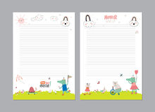 Cute Calendar Daily Planner. Template for 2016. Beautiful Diary with Vector Funny Animals Illustrations. Good for Kids. Summer Season Holidays Backgrounds Royalty Free Stock Image