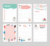 Cute Calendar Daily Planner. Template for 2016. Note Paper Set with Vector Funny Animals Illustrations. Good for Kids. Summer Season Holidays Backgrounds Stock Photography