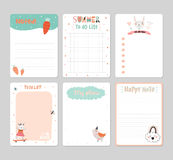 Cute Calendar Daily Planner. Template for 2016. Note Paper Set with Vector Funny Animals Illustrations. Good for Kids. Summer Season Holidays Backgrounds Royalty Free Stock Images