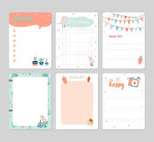 Cute Calendar Daily Planner. Template for 2016. Note Paper Set with Vector Funny Animals Illustrations. Good for Kids. Summer Season Holidays Backgrounds Royalty Free Stock Photos