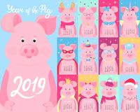Calendar for 2019. 12 cartoon pigs characters. Santa Claus, unicorn, princess, Halloween, birthday. Chinese New Year. Cute Calendar for 2019 from sunday to vector illustration