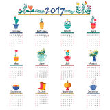 Cute Calendar Template for 2017. Beautiful Funny Illustrations flowers for each month. Vector template calendar for 2017 with cute illustrations Royalty Free Stock Image