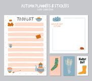 Cute Daily Calendar and To Do List Template. Note Paper and Stickers Set with Vector Autumn Illustrations. Good for Kids. Fun Background. Organizer and Stock Photo
