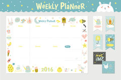 Cute Calendar Weekly Planner. Template for 2016. Beautiful Diary with Vector Character and Funny Kids Illustrations. Spring Season Holidays Backgrounds Stock Photo
