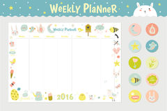 Cute Calendar Weekly Planner. Template for 2016. Beautiful Diary with Vector Character and Funny Kids Illustrations. Spring Season Holidays Backgrounds Royalty Free Stock Photo