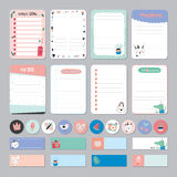 Cute Calendar Daily and Weekly Planner. Template. Note Paper and Stickers Set with Vector Funny Animals Illustrations. Good for Kids. Cute Background. Organizer Stock Images
