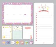 Cute Calendar Daily and Weekly Planner. Template. Note Paper and Stickers Set with Vector Funny Animals Illustrations. Good for Kids. Cute Background. Organizer Royalty Free Stock Photos