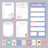 Cute Calendar Daily and Weekly Planner. Template. Note Paper and Stickers Set with Vector Funny Animals Illustrations. Good for Kids. Cute Background. Organizer Royalty Free Stock Images