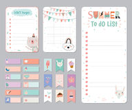 Cute Calendar Daily and Weekly Planner. Template. Note Paper and Stickers Set with Vector Funny Animals Illustrations. Good for Kids. Cute Background. Organizer Stock Photo