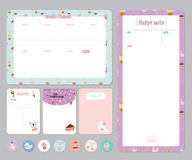 Cute Calendar Daily and Weekly Planner. Template. Note Paper and Stickers Set with Vector Funny Animals Illustrations. Good for Kids. Cute Background. Organizer Stock Image