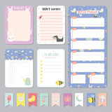 Cute Calendar Daily and Weekly Planner. Template. Note Paper and Stickers Set with Vector Funny Animals Illustrations. Good for Kids. Cute Background. Organizer Royalty Free Stock Photo