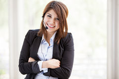 Cute call center representative Royalty Free Stock Photo