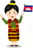 Cute cambodian girl in traditional clothes  with flag Royalty Free Stock Photos