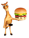 Cute Camel cartoon character with burger Royalty Free Stock Photos