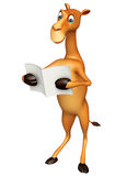 Cute Camel cartoon character with new paper Stock Images