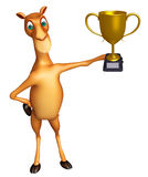 Cute Camel cartoon character with winning cup Royalty Free Stock Photography