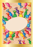 Cute candy card. Illustration of a cute candy card Royalty Free Stock Images