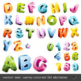 Cute candy-colored 3d alphabet. Candy-colored 3d alphabet with different patterns - caps and numerics Royalty Free Stock Photography